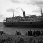 Passenger liner beached on Lake Michigan